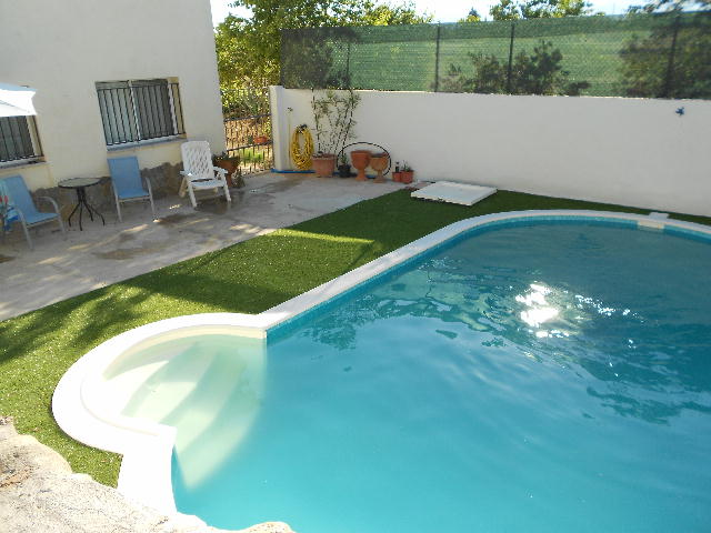 Pool, terrace and fields beyond